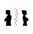 couple quarreled and turned away from each oth vector image vector image