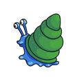 cute blue snail with green house shell go to vector image vector image