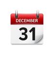 December 31 flat daily calendar icon vector image