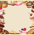 different sweets colorful background vector image vector image