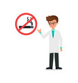 doctor in suit index to no smoking sign and vector image