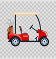 electric golf car with golf club bag vector image vector image