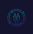electricity icon with electric plug linear vector image vector image