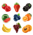 Fresh fruit 3d icons set realistic