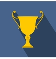 Golden trophy cup flat icon vector image vector image