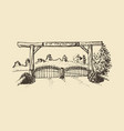 hand drawn a farm gate view vector image vector image