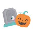 happy halloween tombstone pumpkin with spooky eye vector image vector image