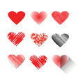 icon set of red hearts shape vector image
