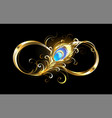 infinity with golden peacock feather vector image