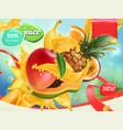 mix fruits splash juice mango banana pineapple vector image vector image