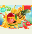 mix fruits splash of juice mango banana pineapple vector image vector image