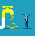 money coins fall out golden faucet financial vector image