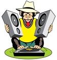 Monkey disc-jockey vector image