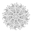 monochrome mehndi mandala with flowers and leaves vector image vector image
