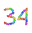 number 34 thirty four of colorful hearts on white vector image