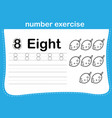 number exercise with cartoon coloring book vector image vector image