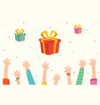 of kids and gift boxes vector image vector image