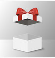 opened gift box with red bow vector image vector image