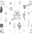 pastel seamless pattern with hand drawn teddy bear vector image vector image