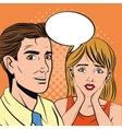Pop art design of man and woman cartoon vector image