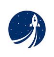 rocket flying in sky logo design vector image