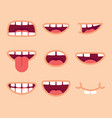 set funny mouths cartoon style vector image