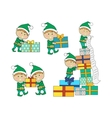 Set of Fairy Elves with Christmas Presents vector image
