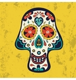 Sugar skull on grunge background vector image