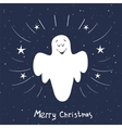 Christmas card with singing angel Hand drawn vector image