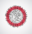 abstract computer circuit board red round t vector image vector image