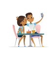 african-american girl and boy meeting at the cafe vector image