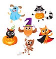 animal characters dressed in halloween costumes vector image vector image