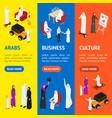 arab muslims people 3d banner vecrtical set vector image