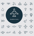 aviation outline thin flat digital icon set vector image vector image
