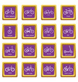 bicycle types icons set purple square vector image vector image