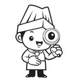 black and white chef mascot look through a vector image vector image