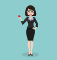 business girl suit with glass of wine vector image