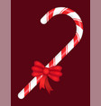 candy stick with bow made ribbon christmas vector image vector image