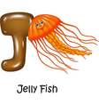 Cartoon of J Letter for Jelly fish vector image vector image