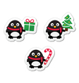 Christmas icons with penguins vector image vector image