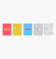 colorful abstract minimalistic style posters set vector image vector image