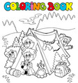 coloring book with camping kids vector image