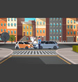 crashed car road accident police officer vector image vector image