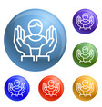 customer care icons set vector image