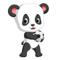 cute baby panda playing soccer vector image vector image