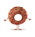 cute funny glazed donut cartoon character vector image vector image