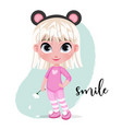 cute little girl character in hat on pastel mint vector image vector image