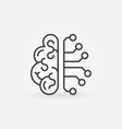 cyberbrain outline icon - artificial vector image