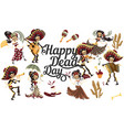 day dead people skeletons party poster vector image vector image