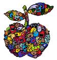 doodle apple cartoon vector image vector image